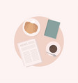 breakfast morning meal coffee and croissant top vector image vector image