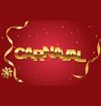 carnaval golden banner vector image vector image