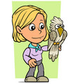 cartoon girl character with funny parrot vector image vector image