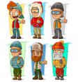 cartoon tourist traveler characters set vector image vector image