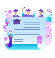 cheerful graduate students with diploma frame vector image vector image