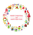 Christmas New Year Holiday Flat Design Icons vector image