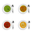 collection of plates with soup and cream soup vector image vector image