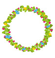 colorful spring floral circle with blue and yellow vector image vector image