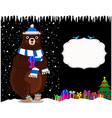 cute cartoon bear in hat on night snowy vector image vector image