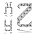 Design ABC letters from X to Z vector image
