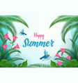 Exotic summer flat banner template happy