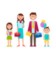 family poster with happy kids vector image vector image