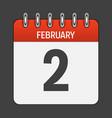 february 2 calendar daily icon vector image vector image