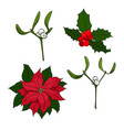 four christmas elements for your designs vector image vector image