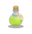 glass bottle with magic elixir and label with vector image