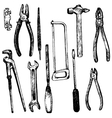 hand drawn tool kit vector image