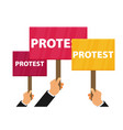 hand holding protest sign flat vector image vector image