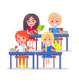 happy schoolchildren in classroom isolated on vector image vector image