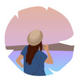 happy travel - with lovely young female in the vector image vector image