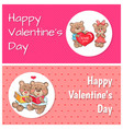 happy valentines day posters plush fluffy teddies vector image vector image