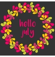 Hello july wreath card on black background vector image vector image