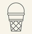 ice cream thin line icon ice cream in waffle cone vector image