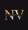 initial monogram letter nv logo design template vector image vector image