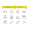 Kitchenware line icons set vector image vector image
