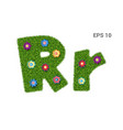 letter rr with a texture of grass and flowers vector image