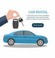 mans hand holding car keys ready for rental car vector image