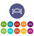 metallic bridge icons set color vector image vector image