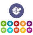mining cutting wheel icons set color vector image