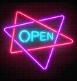neon open signboard in crossing triangles frames vector image