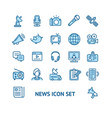 news sign color thin line icon set vector image vector image