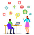 online education student learning through laptop vector image