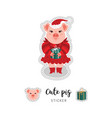 pig patch a pink in a red dress and a hat vector image vector image
