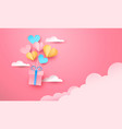 pink paper gift box flying in sky heart balloon