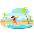 plump girl running with surfboard person in vector image