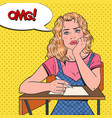 pop art lazy female student sitting on the desk vector image vector image