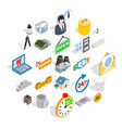 power plant zone icons set isometric style vector image vector image