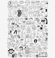 psychology sick people -big doodle set vector image