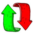 red and green cycle arrows hand drawn colored vector image vector image