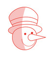 red shading silhouette of face of snowman with hat vector image vector image