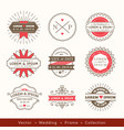 retro modern hipster wedding logo frame badge vector image vector image
