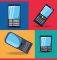 set differents design of smartphone technology vector image vector image