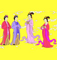 set for chinese women of yuan or mongol dyn vector image