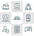 Set of 9 communication icons includes remove user vector image