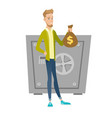 young caucasian businessman holding a money bag vector image