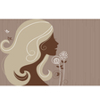 Beautiful girl silhouette with a flowers vector image vector image