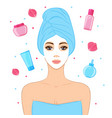 beautiful woman with facial mask cosmetics and vector image vector image