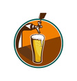 Beer Pint Glass Tap Retro vector image vector image