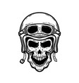 biker skull in helmet isolated on white vector image vector image