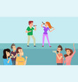 boy and girl singing in karaoke on stage vector image vector image