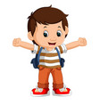 boy with backpacks vector image vector image